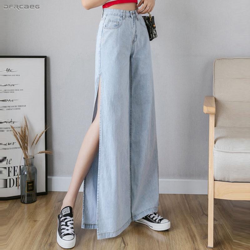 Light Blue Sexy Split Wide Leg Jeans For Women 2019 Autumn High Waist Ladies Boyfriend Jeans Denim Pants Long Female