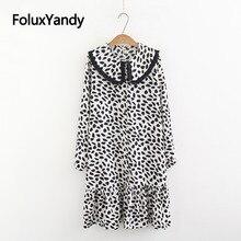 Ruffles Leopard Dress Women Casual Tassel Peter Pan Collar Loose Plus Size Midi Vestidos KKFY3138