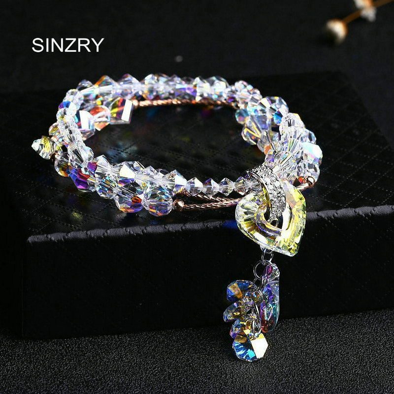 SINZRY jewelry NEW handmade Charm Bracelets Luxury imported glass crystal DIY Heart strand bracelets statement jewelry