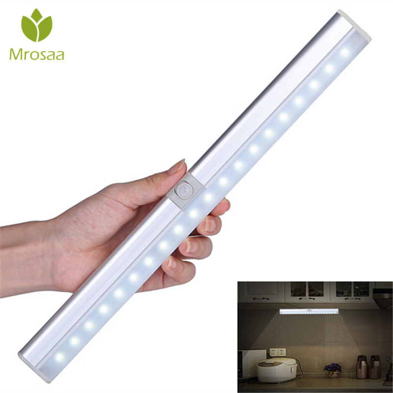 Mrosaa Portable 20 LED USB Rechargeable Light Sensor & PIR Mtion Cabinet Closet Light Night Lamp for Kitchen Stairs Wardrobe