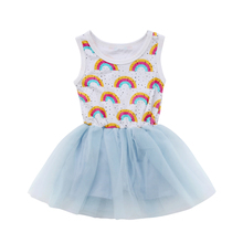 08af11b85aa Kids Baby Girl Lace Rainbow Romper Tutu Dress Playsuits Clothes 1-6T(China)