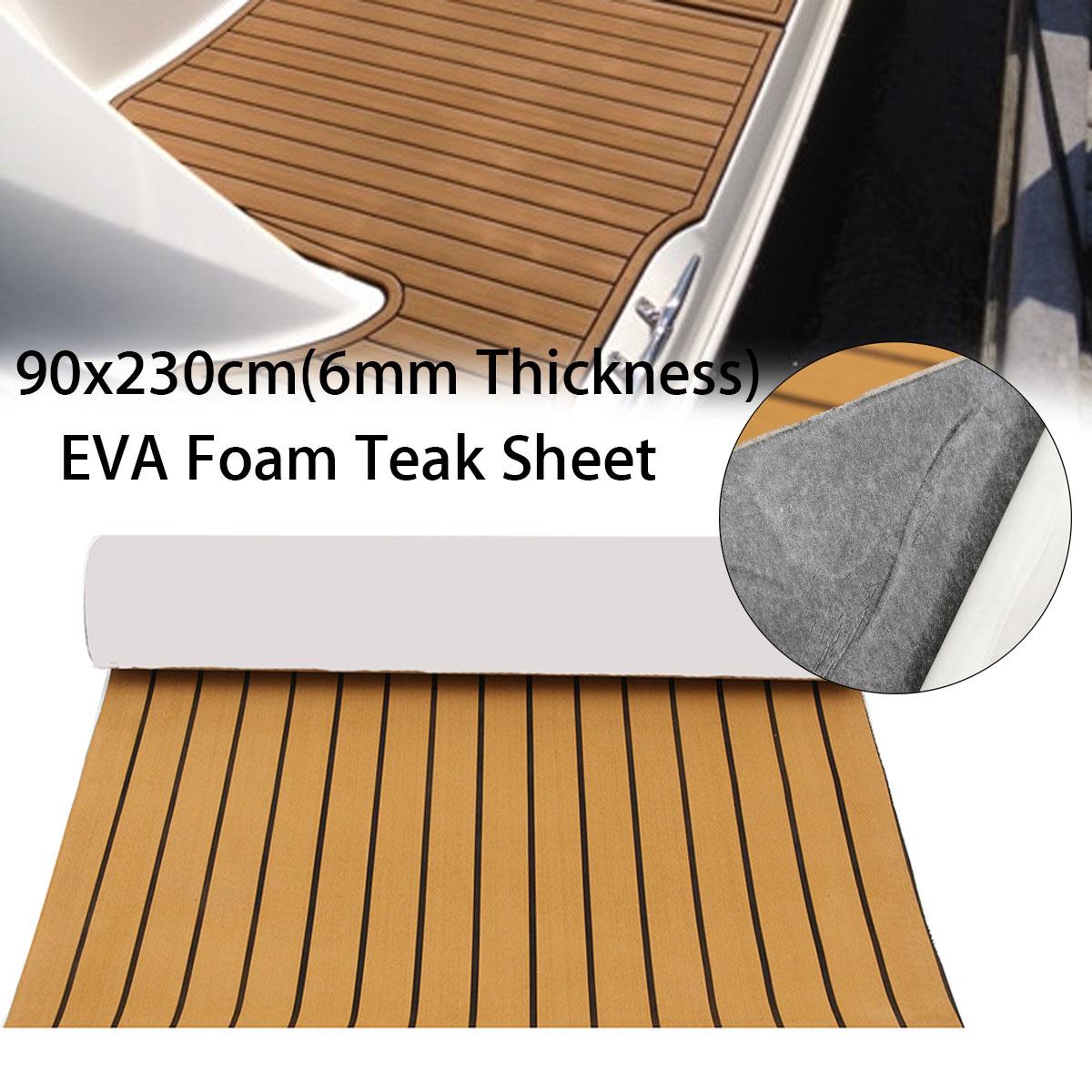 90x230cm Self-Adhesive EVA 6mm Marine Boat Synthetic Flooring EVA Foam Yacht Teak Decking Sheet Car Carpet Floor Mat Gold Black