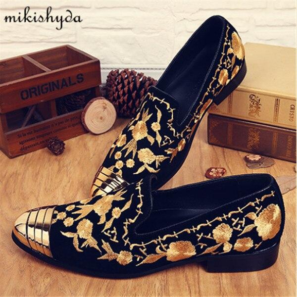 ahorrar color atractivo último estilo € 56.67 60% de DESCUENTO|Zapatos casuales de moda para Hombre Zapatos  florales dorados con bordado de alpargatas mocasines de gamuza planos  vintage ...