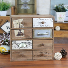 Creative zakka grocery retro solid wood four drawer storage cabinet finishing eight-Household goods store counters