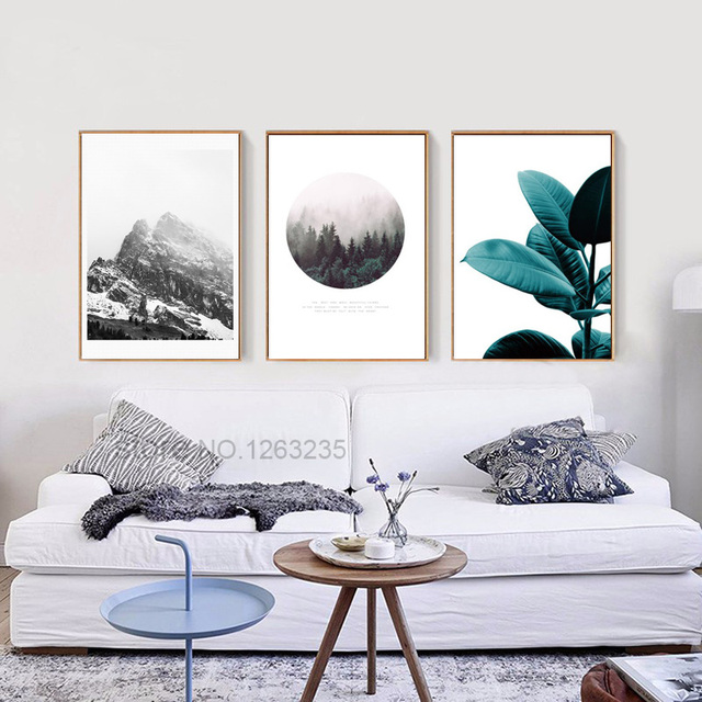 Review Landscape Mountain Nordic Poster Leaf Canvas For Living Room Wall Art Canvas Painting Posters And Luxury - Simple Wall Posters for Bedroom Lovely