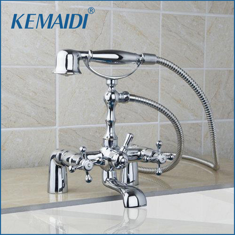 KEMAIDI Telephone Style Deck Mounted Waterfall Bathroom Chrome Brass 92603 Double Handles Basin Sink Torneira Faucet Mixer Tap мобильный телефон t smart smart g18 3g 200