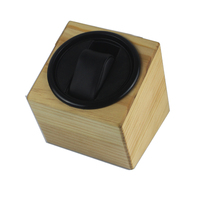 Watch Winder ,LT Wooden Automatic Rotation 1+0 Watch Winder Storage Case Display Box(Outside is pine color and Inside is black)