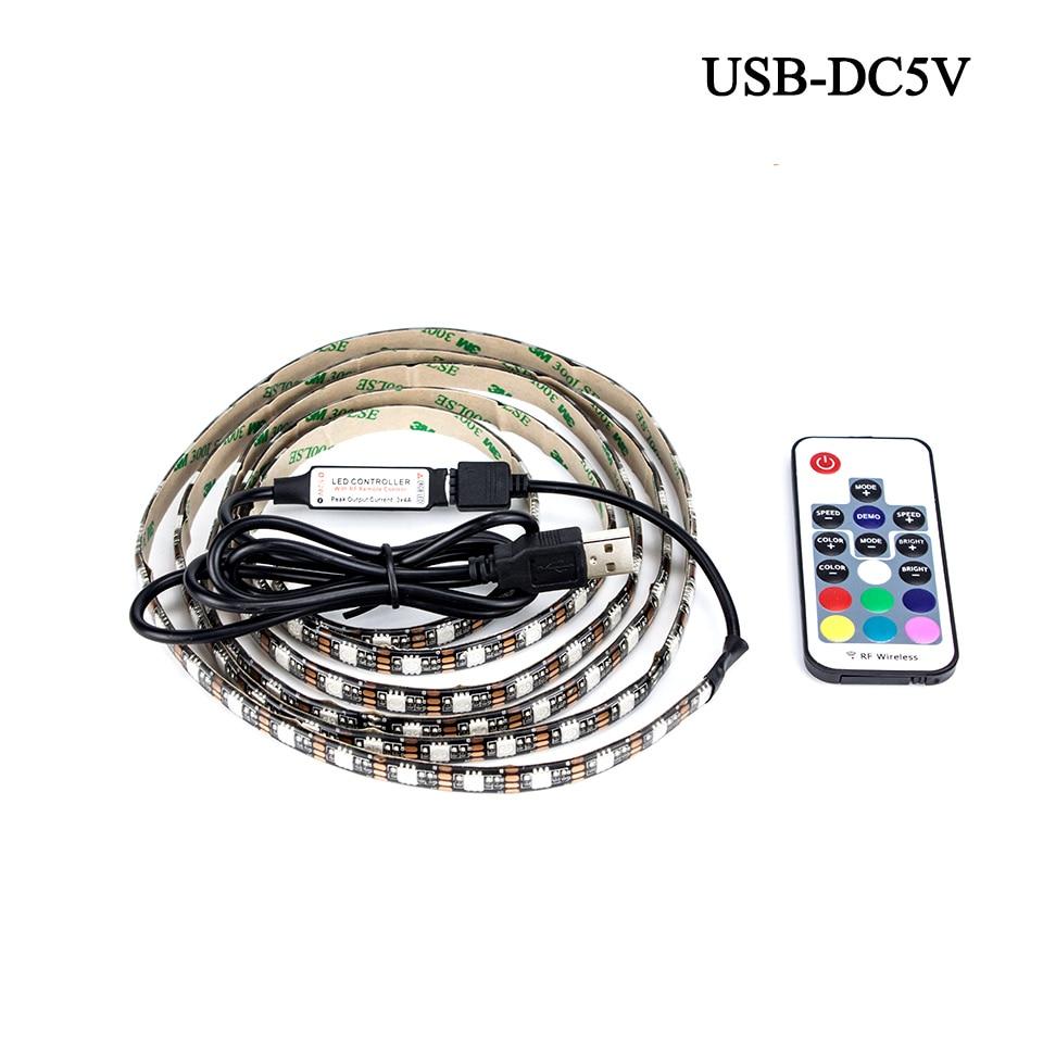 ТВ Задний план освещения IP65 IP20 50 см 1 м 2 м 3 м 4 м 5 м DC 5 В <font><b>rgb</b></font> гибкая USB Светодиодные ленты Light 5050 SMD строка лента клейкая лента