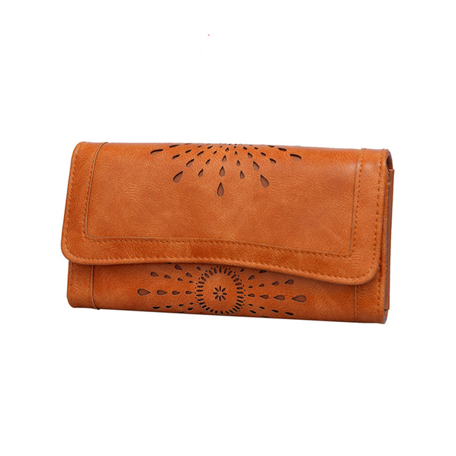 2017 New Hollow Out Women Wallets Brown Cover Coin Purse Women's Wallet PU Leather Ladies Purses Promotion Card Holder Clutch