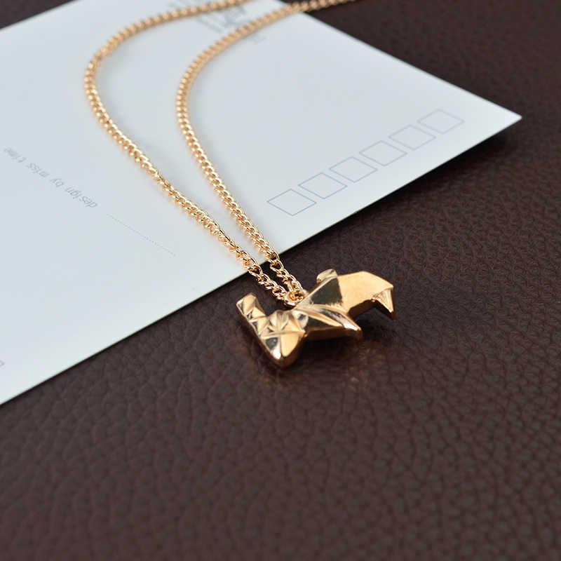 Minimalista Criativo Origami Coelho Colar Pingente de Prata Para As Mulheres Camisola Cadeia de Jóias Presente Para Homens Amigo Animal de Estimação