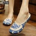 Горячие продажи Летняя Мода тапочки обуви женщины повседневная Синий Белый вышивка женская обувь Ретро дом флип-флоп сандалии для женщин шлепки женские босоножки вьетнамки