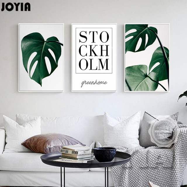 Minimalism life art canvas picture green home leaf posters prints 3 piece set living room
