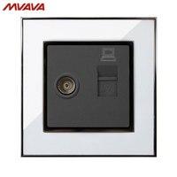MVAVA Computer Data TV Receptacle RJ45 Data Outlet Internet Jack Plug Wall Decorative Socket Luxury Mirror