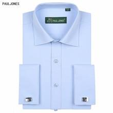 527ad8c47 Pauljones ماركة طويل كم قميص الفرنسي صفعة 5xl رجال الأعمال صالح منتظم  الصلبة ملابس رسمية فساتين