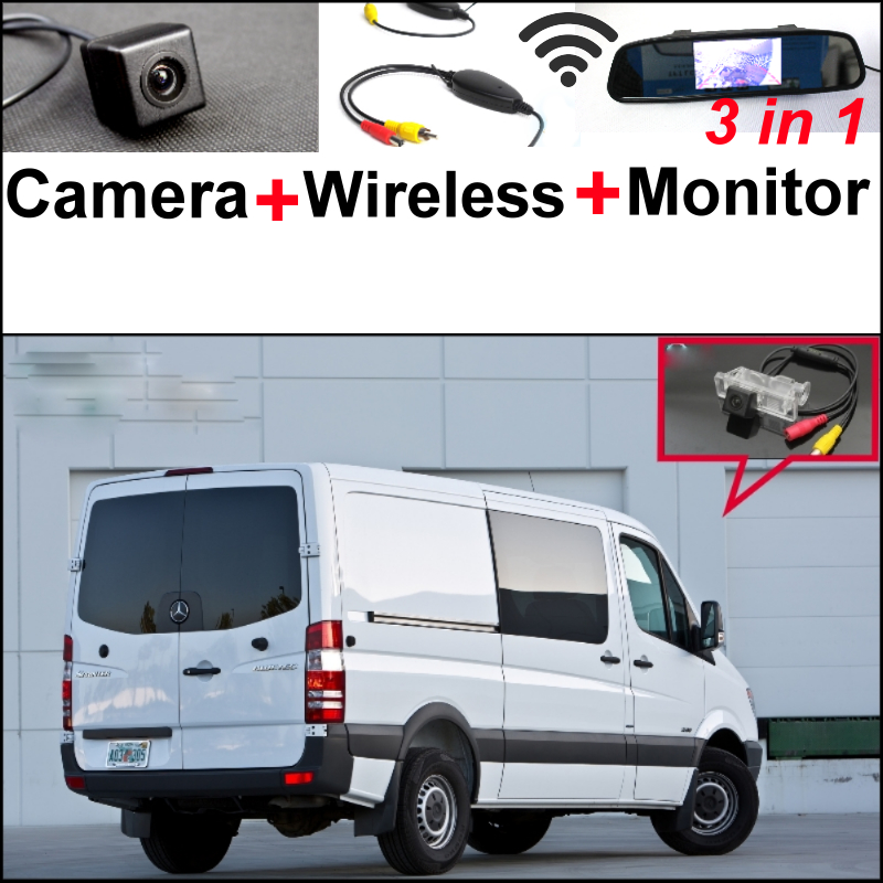 3 in 1 Special Camera + Wireless Receiver + Mirror Monitor Rear View Back Up Parking System For Mercedes Benz For Dodge Sprinter wireless pager system 433 92mhz wireless restaurant table buzzer with monitor and watch receiver 3 display 42 call button