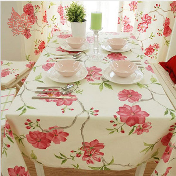 Nice Green/pink Floral Print Hot Sale Table Cloth 100%cotton Canvas Fabric  Dining Table