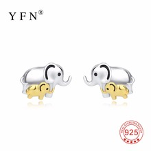 YFN 925 Sterling Silver Lucky Elephant Mom And Child Mother Love Stud Earrings Fashion Jewelry Gift For Women