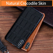 حافظة لهاتف أبل آيفون X XS Max XR 8 Plus 11 pro max 12 mini 100% الأصلي جلد التمساح الطبيعي الغطاء الخلفي كابا