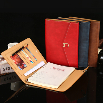 A Buckled A5 Looseleaf Three-fold Notebook Office Meeting Record Book Leather Top grade Business Notebook