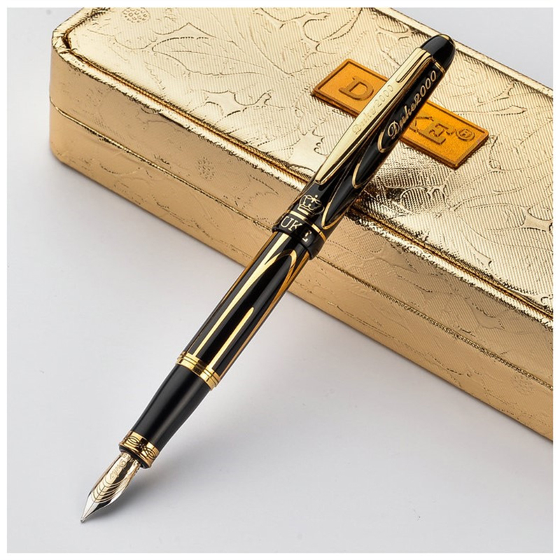 Germany Duke 8k Gold Pen Luxury Fountain Pen Medium Nib Black Gold Clip Ink Pen High-end Business Gift Pens with A Gift Box italic nib art fountain pen arabic calligraphy black pen line width 1 1mm to 3 0mm