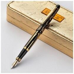 Pluma dorada de 8k de Alemania Duke, pluma estilográfica de lujo, pluma de punta media negra dorada, bolígrafo de tinta de gama alta, bolígrafos de regalo de negocios con caja de regalo