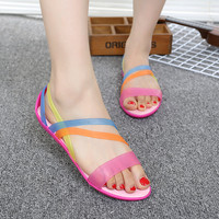 2018 Women S Rainbow Jelly Sandals Shoes Casual Bohemia Beach Slippers For Women Candy Color Jelly