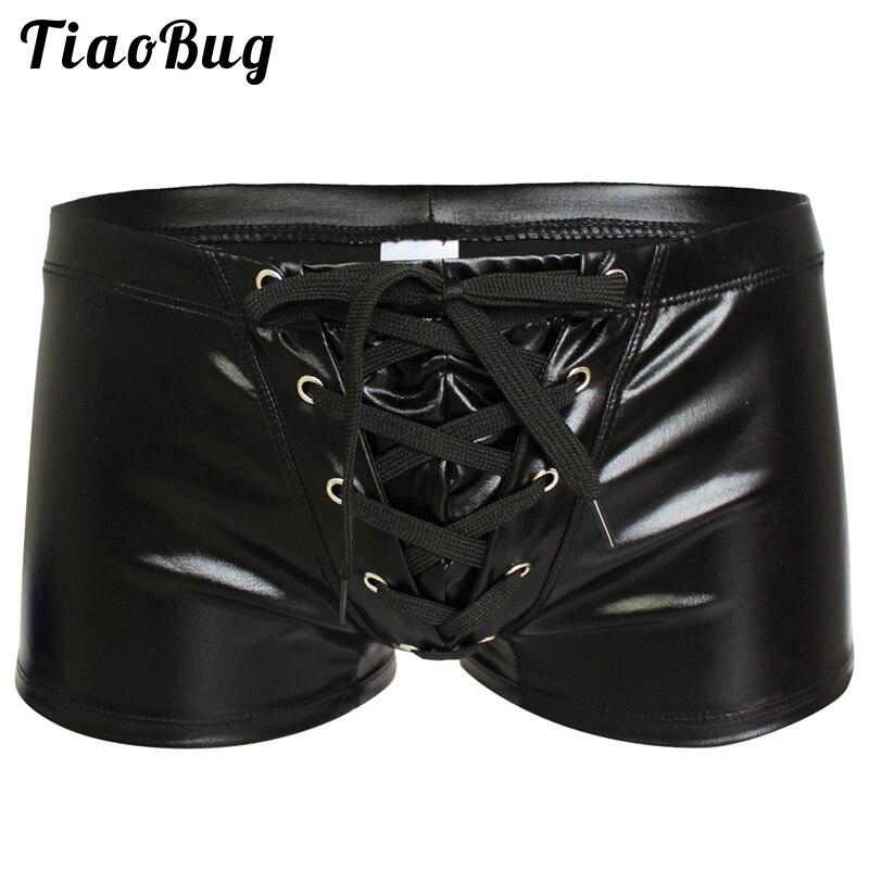 Homens sexy de couro falso brilhante boxers roupa interior exótica gay masculino látex wetlook shorts calcinha biquíni roupa de banho legal fetiche lingerie