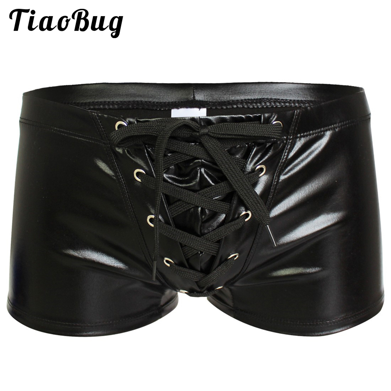 Mens Sexy Faux Leather Shiny Boxers Exotic Underwear Gay Male Latex Wetlook Shorts Panties Bikini Swimwear Cool Fetish Lingerie