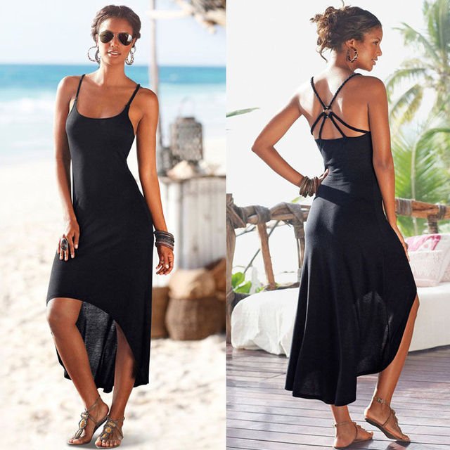 2016 New Women Summer Party Long Dress Beach Dresses Sundress No-frills Black Suspenders Sexy Dress