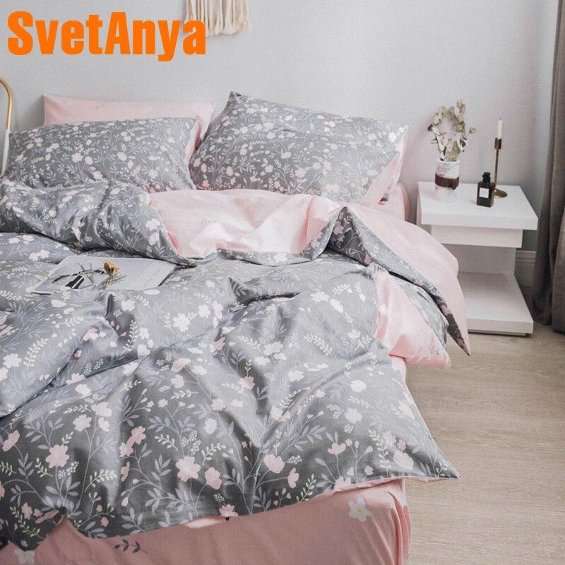 Conjunto de ropa de cama de algodón con estampado de hojas de sábana, edredón, juego de edredón, doble reina, tamaño completo-in Juegos de ropa de cama from Hogar y Mascotas    1