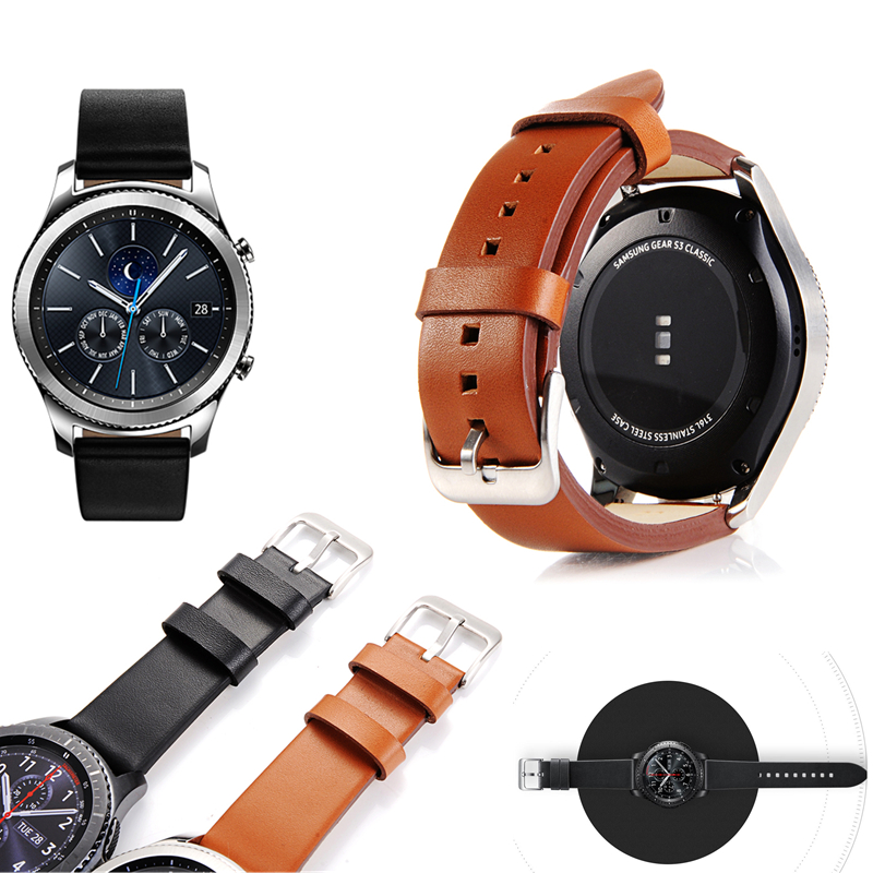 Genuine Leather Black Brown Strap For Samsung Gear S3 Band Frontier Strap For Gear S3 Classic Watchband 22mm Watch Bracelet silicone sport watchband for gear s3 classic frontier 22mm strap for samsung galaxy watch 46mm band replacement strap bracelet