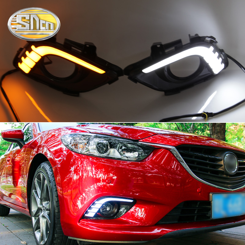 For Mazda 6 2013 2014 2015 2016 Turn Yellow Signal Relay Waterproof ABS 12V Car DRL Lamp LED Daytime Running Light SNCN-in Car Light Assembly from Automobiles & Motorcycles    1