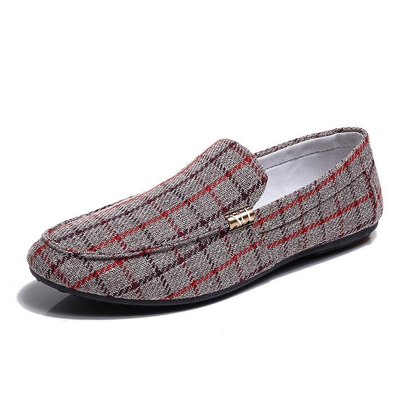 Automne Chaussures Hommes Mode 2018 Métal Les rouge En Boucle Conduite Casual Noir Treillis Toile Pois Pieds Plat Mens bleu gris Mis Douce qdXYw0Yr