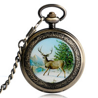 Elk Moose Mechanical Watch Luxury Skeleton Hand Winding Pocket Watch Chain Copper Exquisite Steampunk Pendant Roman