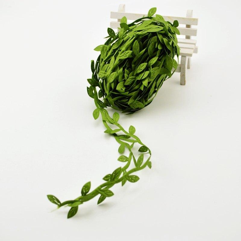 Недорогие Искусственные цветы 10 метров для украшения дома, аксессуары для рукоделия, шелковые зеленые листья из ротанга «сделай сам», сваде...
