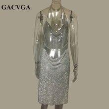 GACVGA 2018 Crystal Metal Halter Shining Summer Dress Women Beach Dress Sequin Mini Sexy Party Dresses Vestidos
