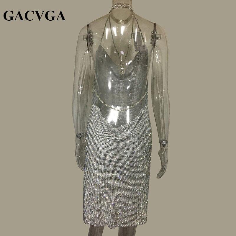 GACVGA 2019 Kristal Metal Halter Parlayan Yay Don Qadın Çimərlik - Qadın geyimi - Fotoqrafiya 3