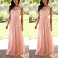 2017 A-Line Chiffon Bridesmaid Dresses Scoop Short Sleeves Lace Prom Dresses Sweep Train Prom Gowns Custom Made Plus Size