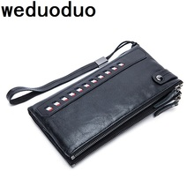 Weduoduo Luxury Brand 100% Genuine Cowhide Leather Vintage Walet Male Wallet Men Long Clutch with Coin Purse Pocket Rfid