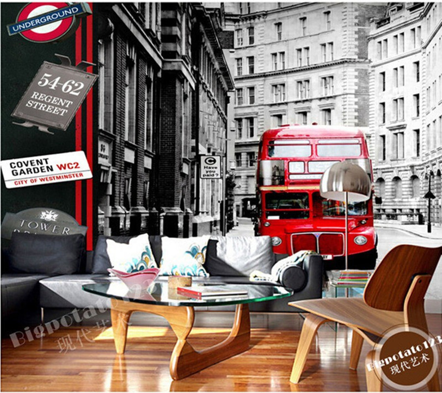 Custom 3D murals,black and white Wall Street building red bus in New York  for living room sofa TV wall bedroom wall paper the custom 3d murals the new york times center building street black and white living room sofa tv wall bedroom wall paper
