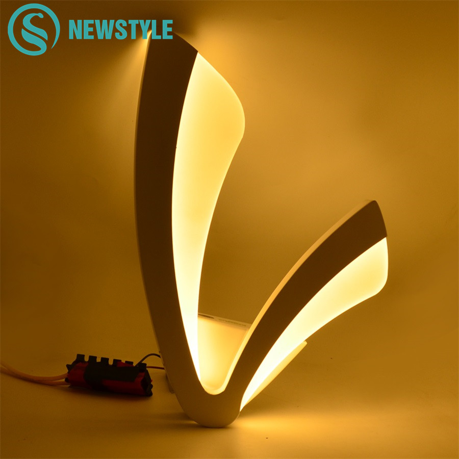LED Wall Lamp Shape V White Acrylic Wall Light 12W Bedroom Wall Lamps AC85-265V Indoor Lighting Living Room Corridor Foyer Decor cross star lighting alloy aluminium wall light lamps 12w ac 85v 265v corridor aisle light hotel led spotlight bar ktv decor