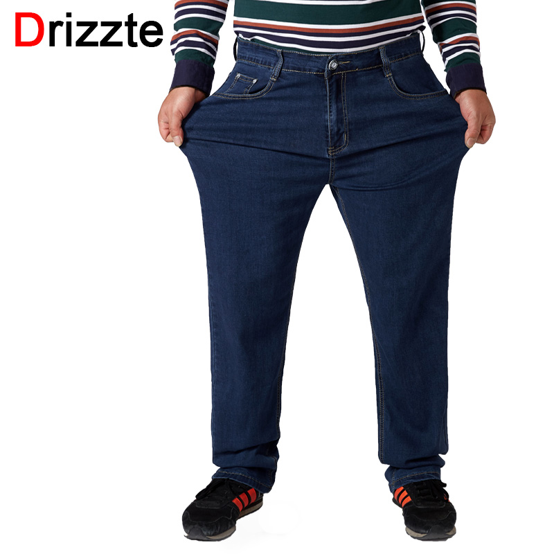 Drizzte Real Plus Size 30 to 52 Mens Blue Straight Stretch   Jeans   Regular Denim   Jean   Trousers Large Size Big and Tall Long Pants