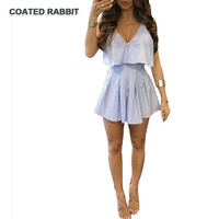Coated Rabbit Ruffles Stripe Elegant Jumpsuit Romper White Strap Backless Bow Overalls Sexy Summer Beach Playsuit