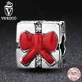Voroco 925 sterling silver charm regalo de navidad del arco rojo del nudo encantos fit pandora mujer pulseras collares diy accesorios c073