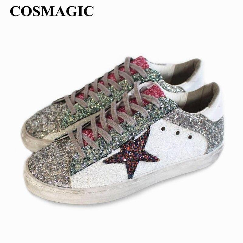 f88e94829152e Nueva 2018 Zapato Estrella Snaekers Vintage Bling Encaje plata Punta  Purpurina Oro Casual Viejo Redonda blanco Plano Cosmagic Sucio Mujer Hacer  1AWwpB58qB