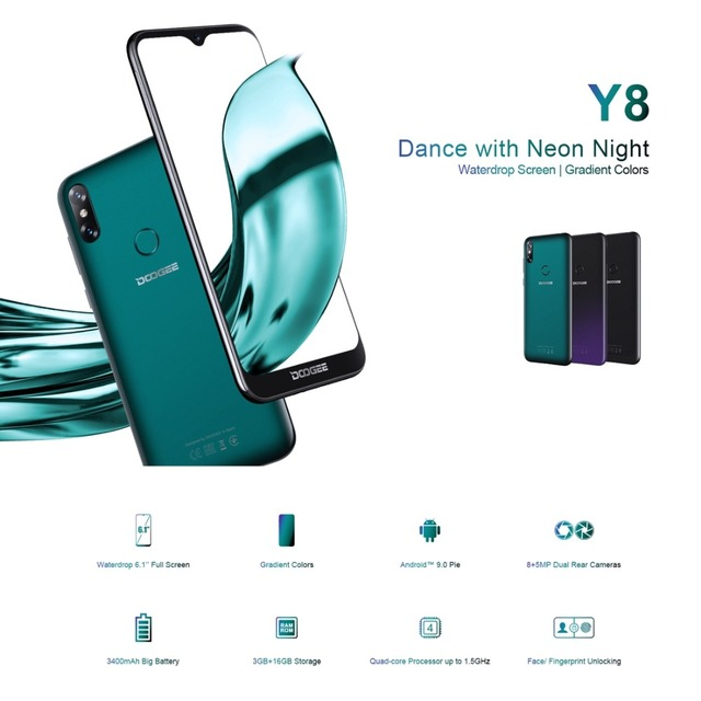 Original DOOGEE Y8 4G Mobile Phone Android 9.0 3GB RAM 16GB ROM Quad Core Smartphone 6.1″ Waterdrop Screen Dual SIM Cell Phone