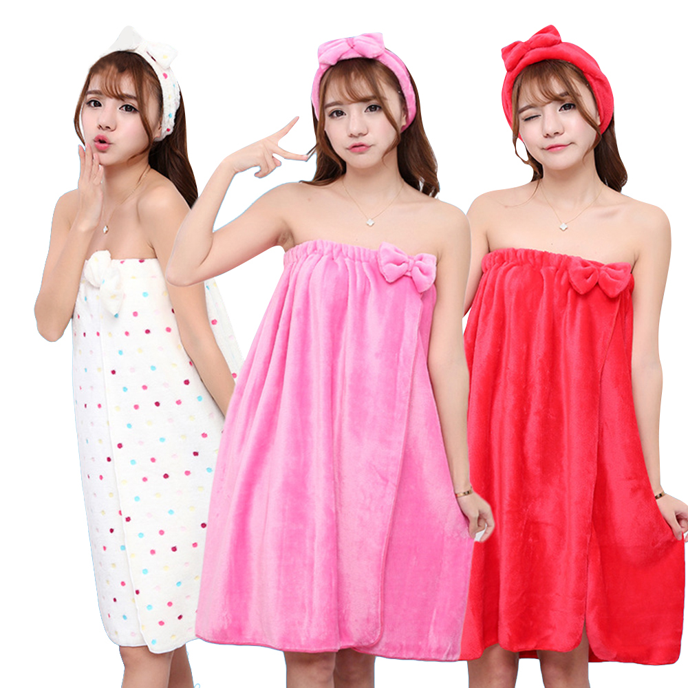 Super Absorbent Towel Sexy Cute Bow Wrap Flannel Nightgown Skirt Bra Bath Towel Microfiber Towel Lady Headband Set For Adults(China)