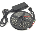 5M 5050 60 LED/M LED Strip light 12V  IP65 Waterproof black pcb led light Red/Blue/White+DC female plug + 12V 5A power adapter