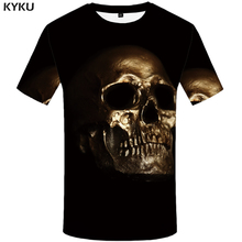 KYKU Skull T Shirt Men Black Casual T-shirt Metal 3d Print T Shirt Punk Rock Anime Clothes Hip Hop Mens Clothing Streetwear Top стоимость