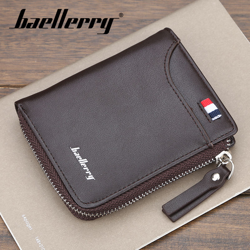 Baellerry Men 3 Color Short Patchwork Wallet PU Leather Purse Coin Pocket Card Holder Photo Holder Wallet Zipper Protal Wallet(China)